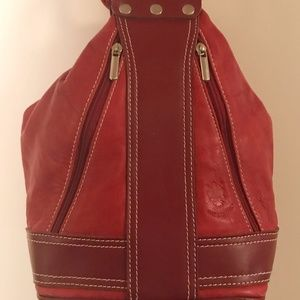 Red Italian Leather Backpack